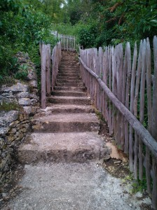 While I waited for the others to look round I followed the sign 'Panoramic' and up the steps to see the church and abbey from the viewing point – admittedly designed with school children in mind, judging by the little benches but worth the climb.